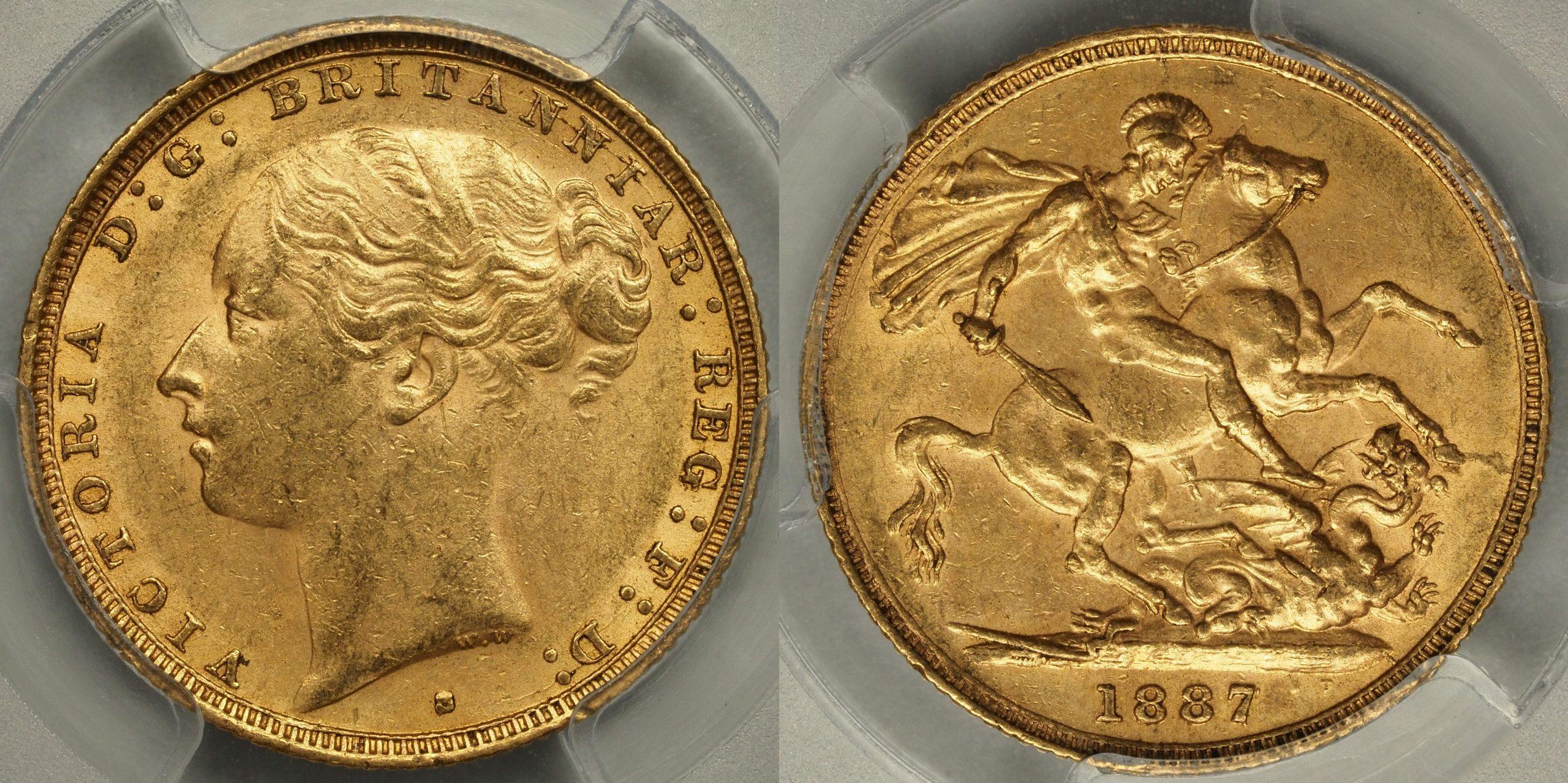 Australia 1887 Sydney Sovereign - PCGS MS61