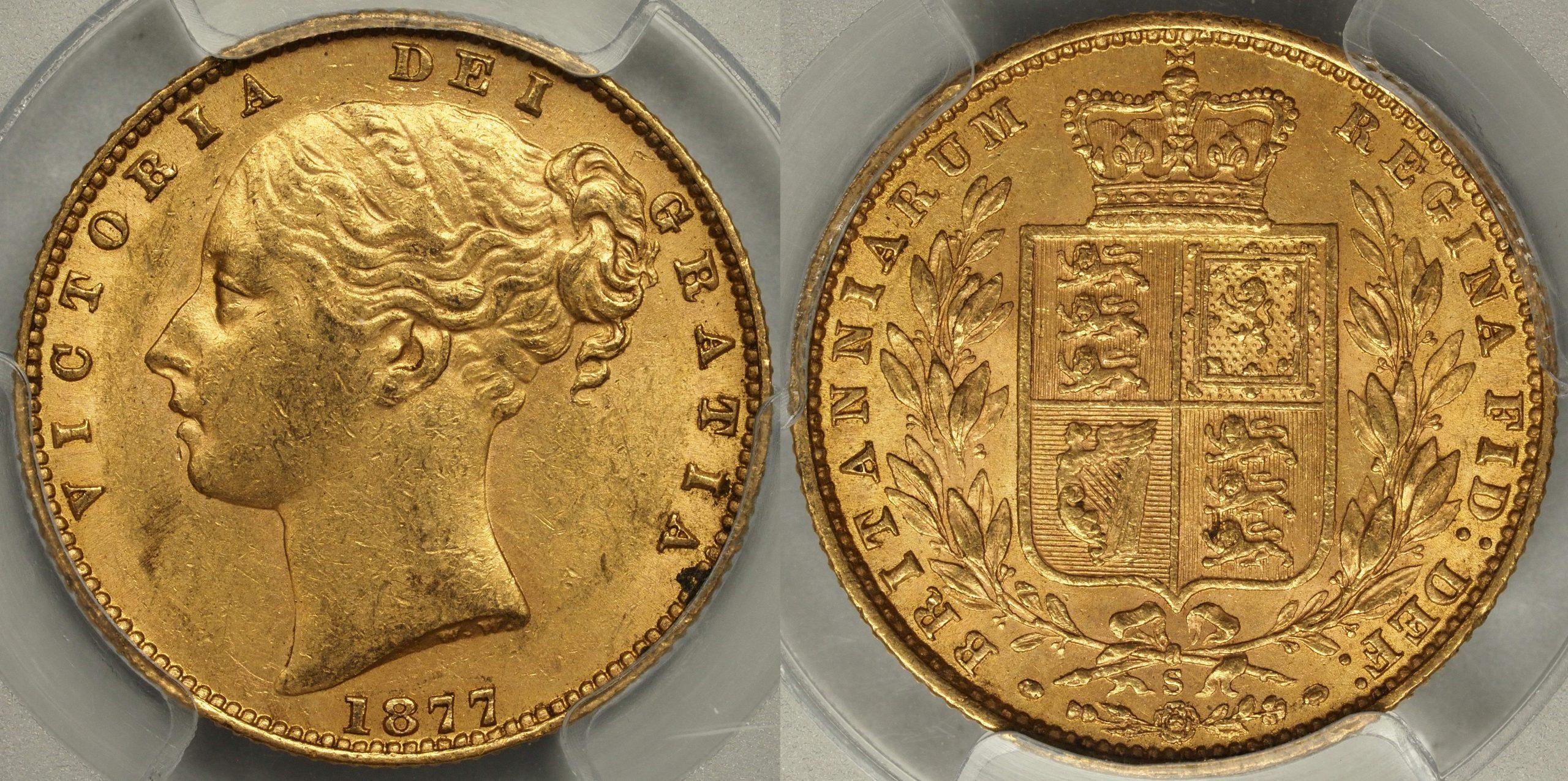 Australia 1877 Sydney Sovereign - PCGS AU58
