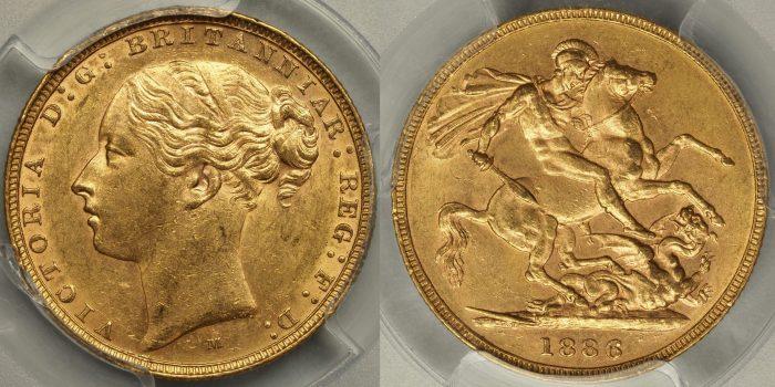 Australia 1886 Melbourne Sovereign - PCGS MS61