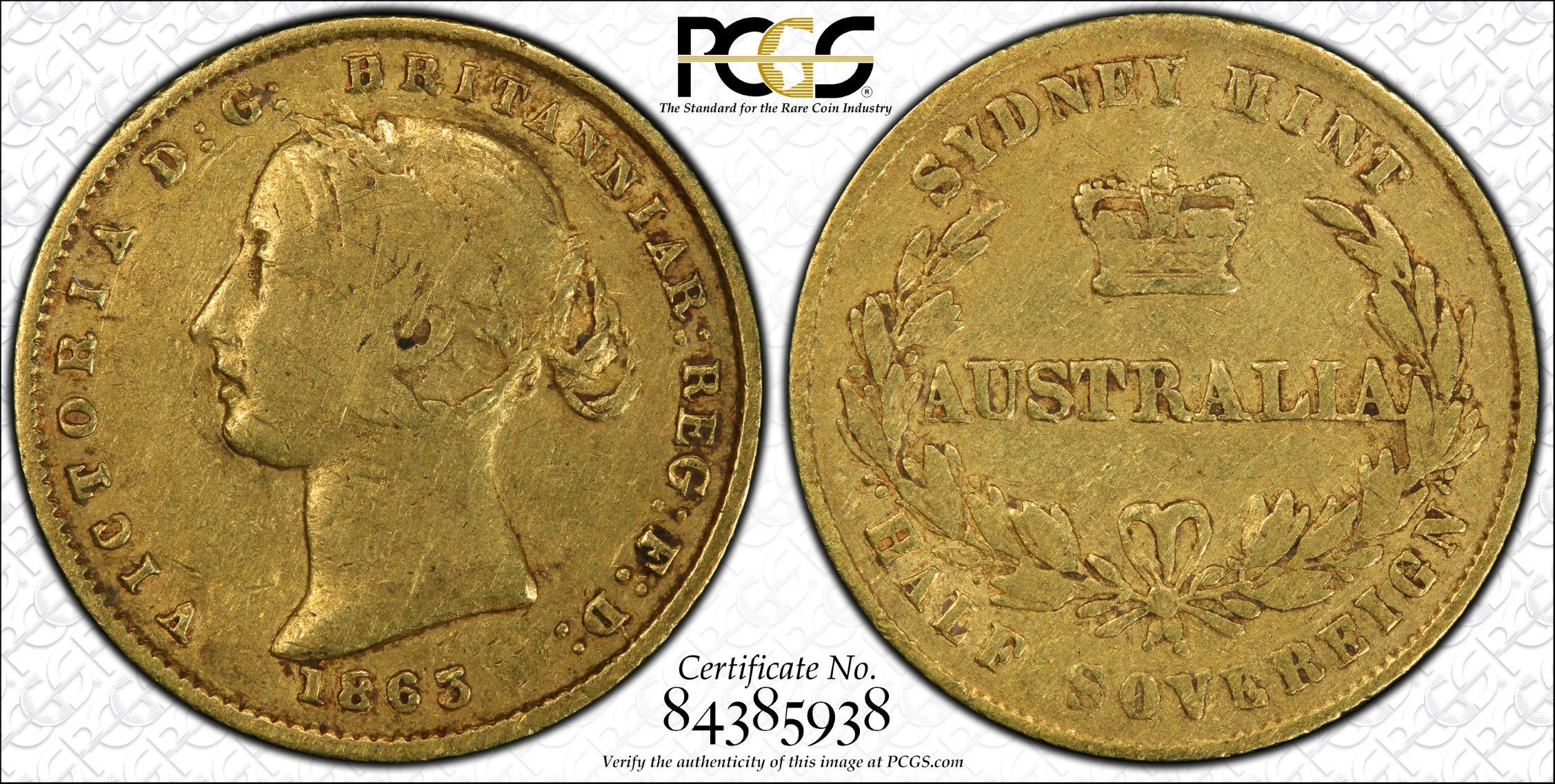 Australia 1863 Sydney Half Sovereign - PCGS VF25