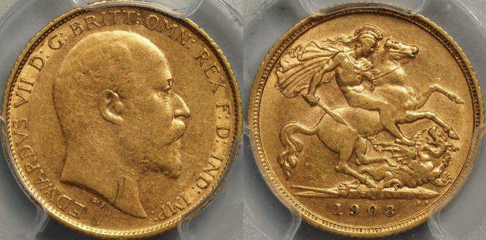 Australia 1908 Sydney Half Sovereign - PCGS AU53