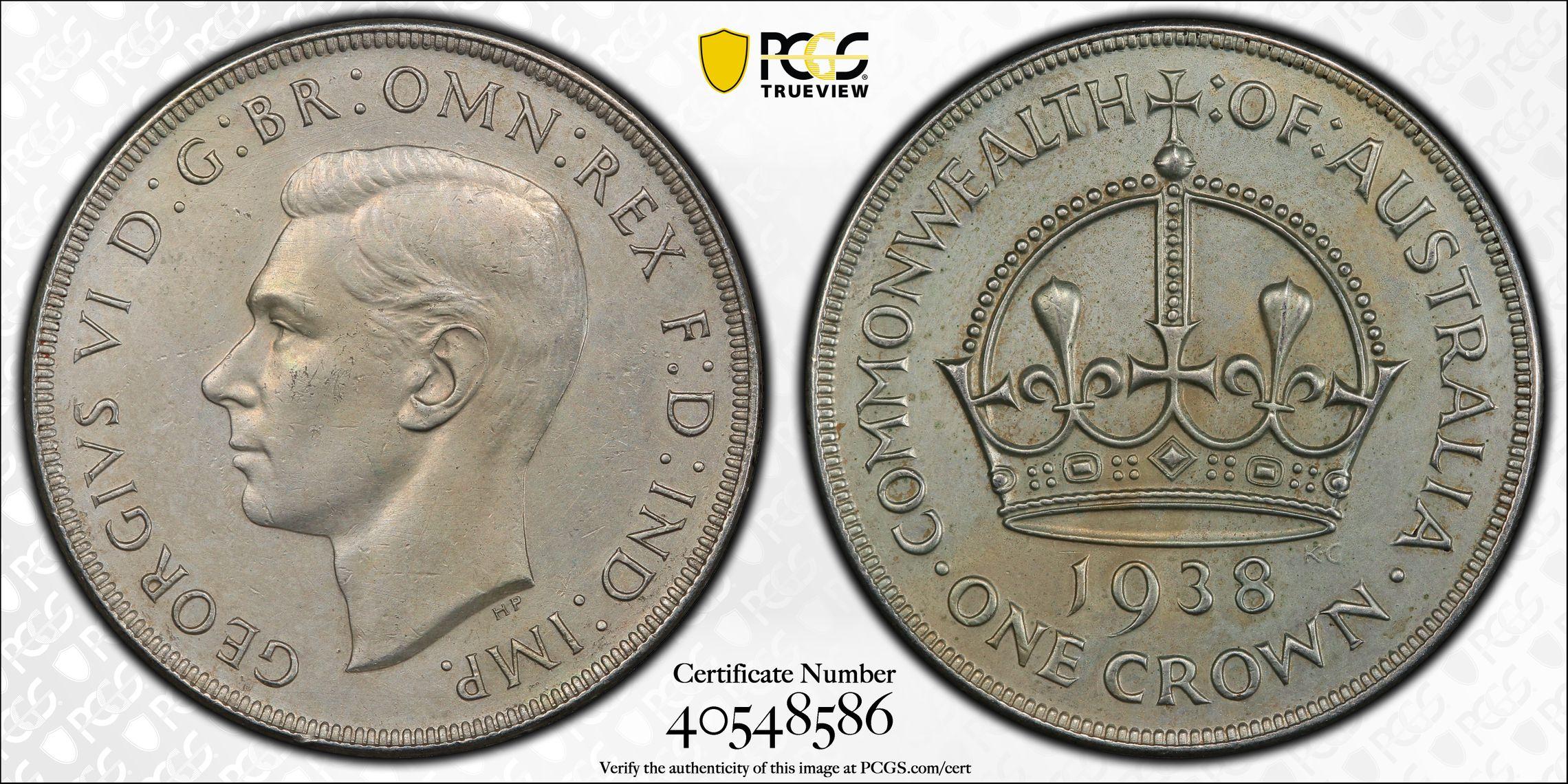 Australia 1938 Crown PCGS UNC Details