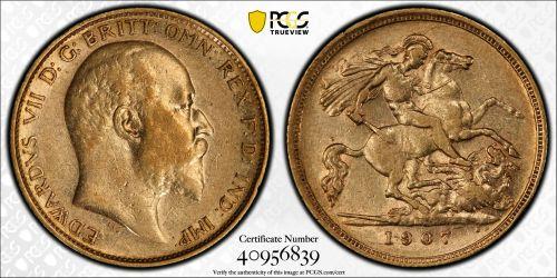 Australia 1907 Melbourne Half Sovereign - PCGS XF45