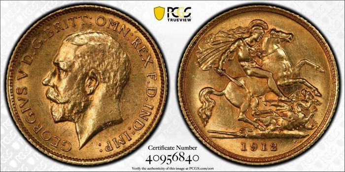 Australia 1912 Sydney Half Sovereign - PCGS AU55