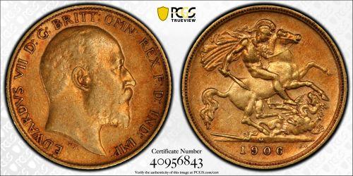 Australia 1906 Melbourne Half Sovereign - PCGS AU50