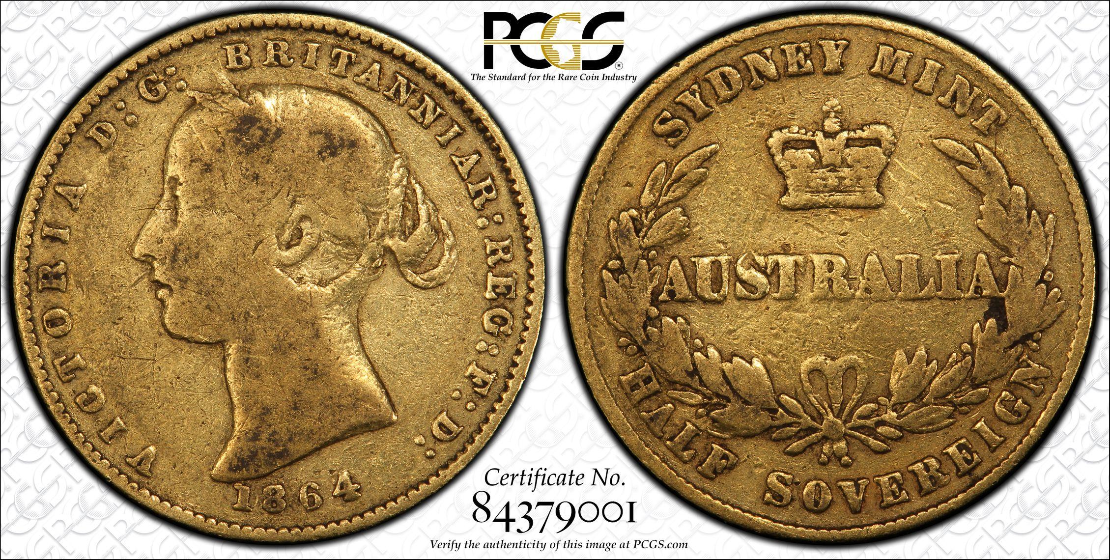 Australia 1864 Sydney Half Sovereign PCGS F12