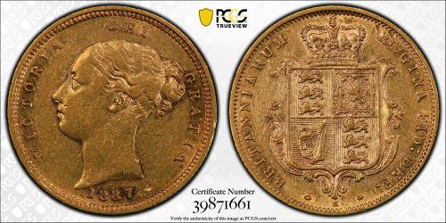 Australia 1887 Melbourne Half Sovereign - PCGS AU50