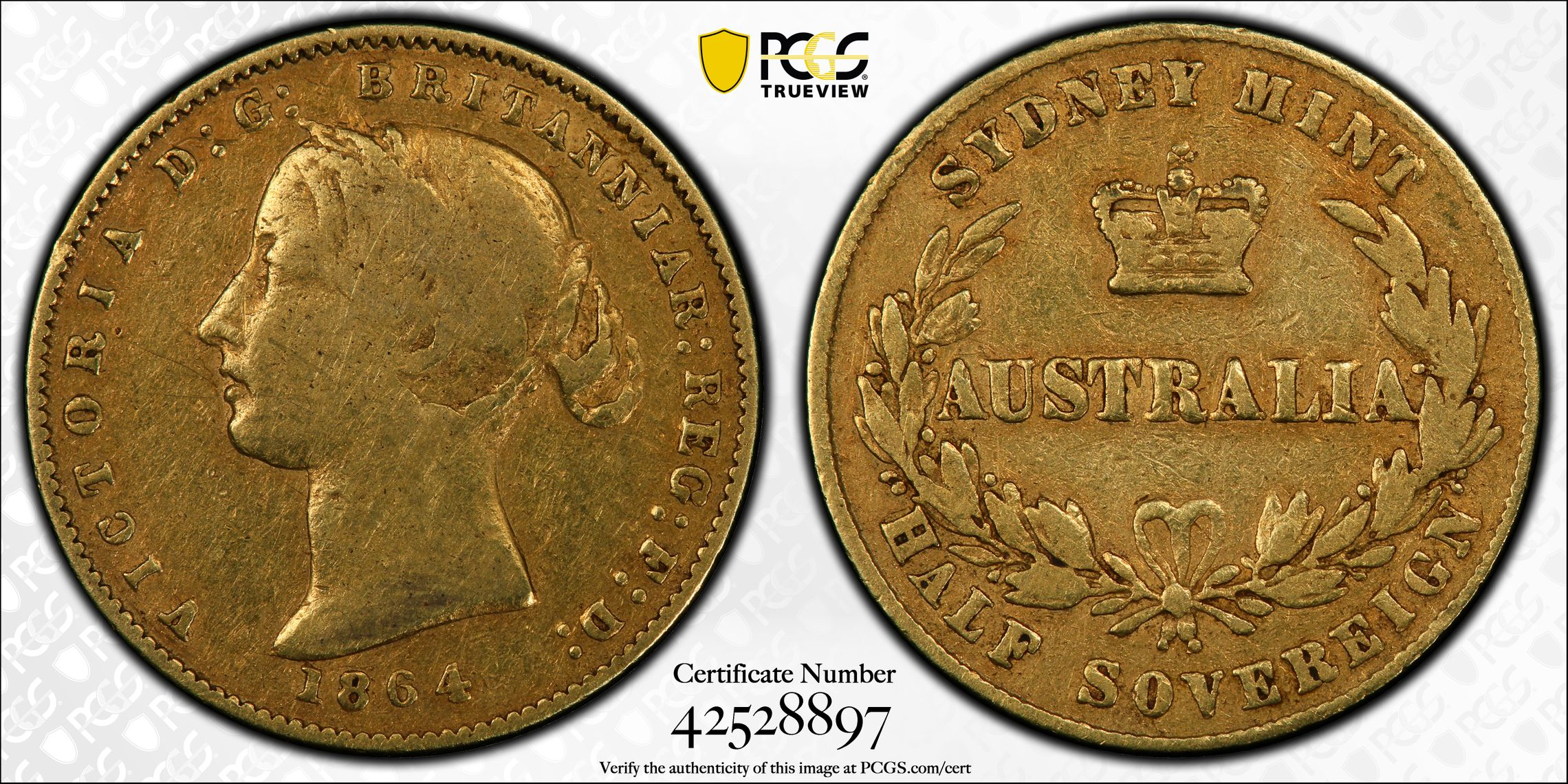 Australia 1864 Sydney Half Sovereign - PCGS VF25