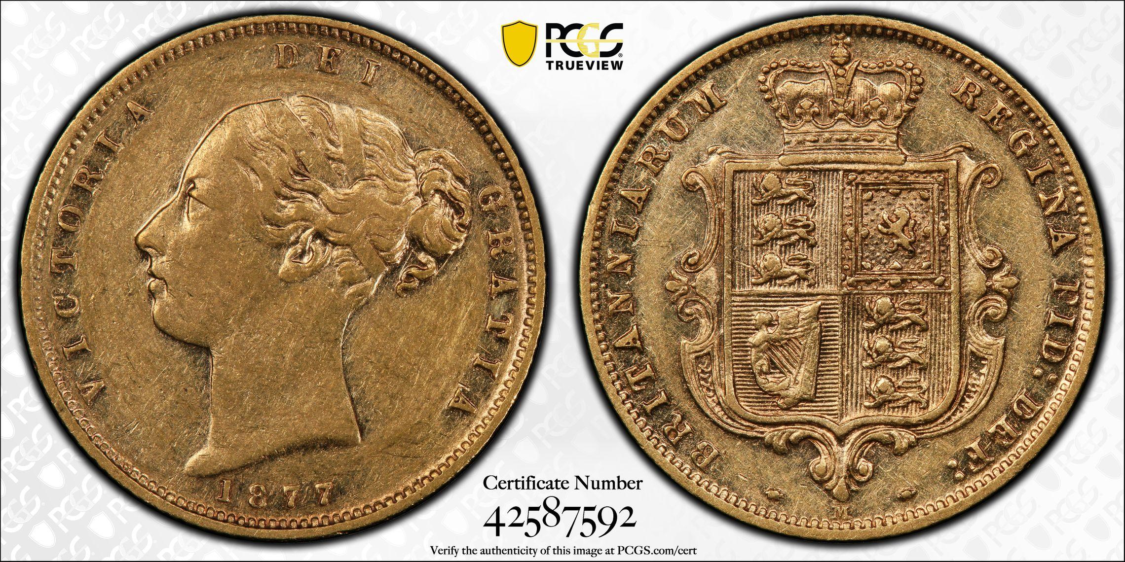 Australia 1877 Melbourne Half Sovereign - PCGS AU50