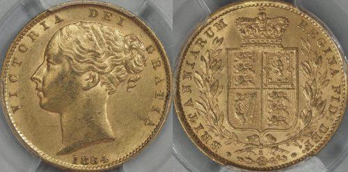 Australia 1884 Sydney Sovereign - PCGS MS61