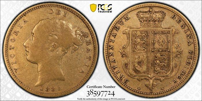 Australia 1881 Sydney Half Sovereign - PCGS VF20