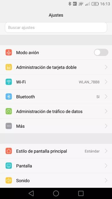 Opciones de la interfaz de usuario EMUI