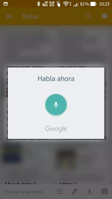 Comenzar tomar notas con Google Keep utilizando sólo la voz