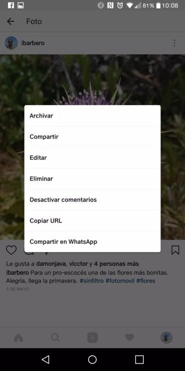 Instagram permite archivar imágenes