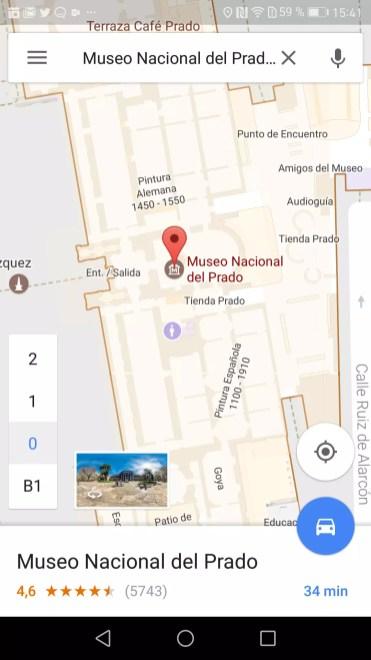 Mapa interior Museo del Prado en Google Maps