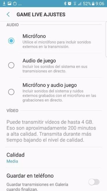 Opciones Samsung Game Live