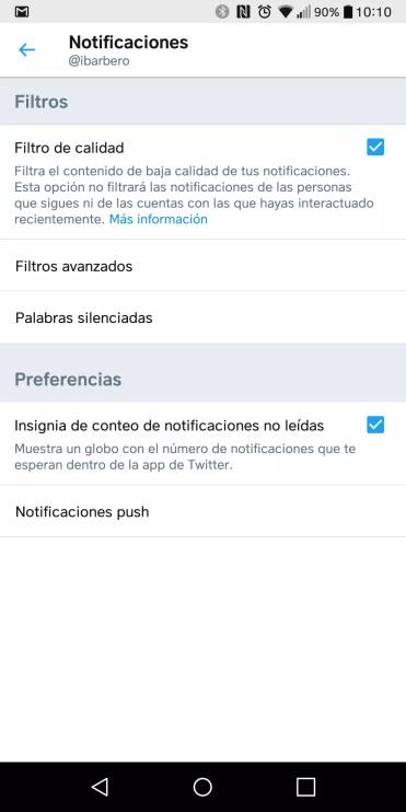Opciones en la aplicación Twitter