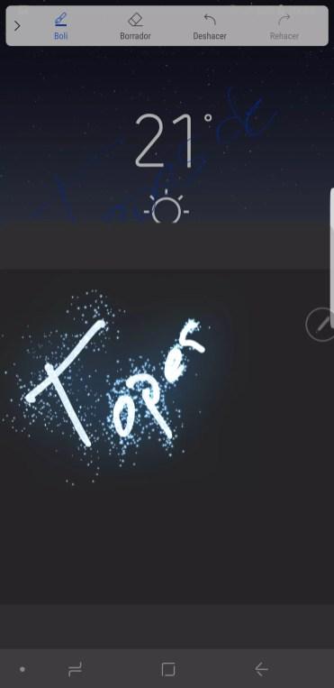 Inicio mensaje animado con el Samsung Galaxy Note 8