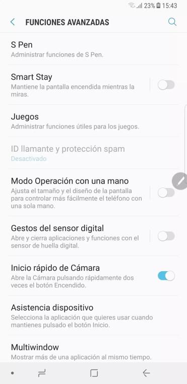 Opciones avanzadas en el Samsung Galaxy Note 8