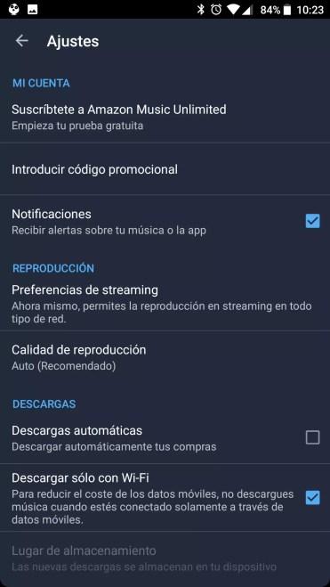 Opciones Amazon Music Unlimited