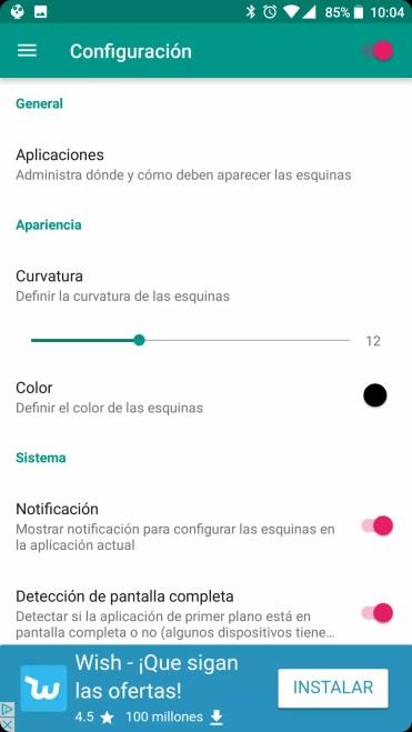 Opciones Cornerfly para poner la pantalla con las equinas redondeadas