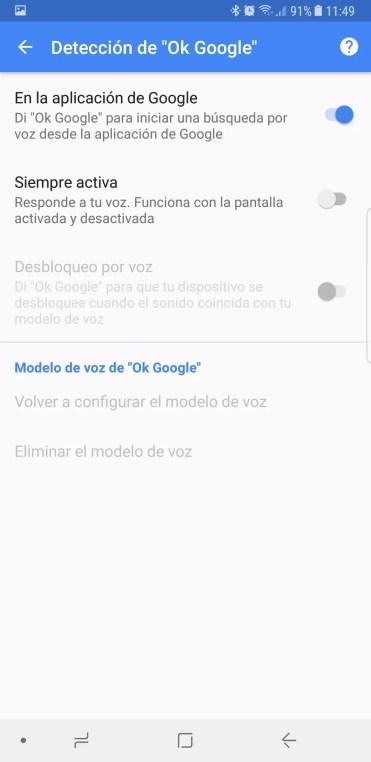 Opciones OK Google