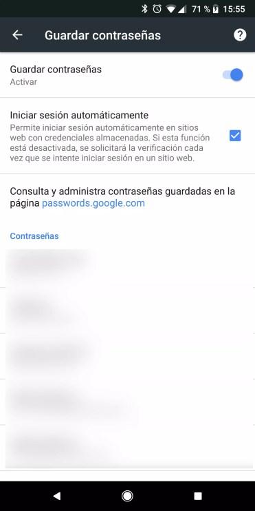 Gestión contraseñas Chrome para Android