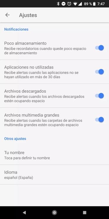 Ajustes de la aplicación Files Go