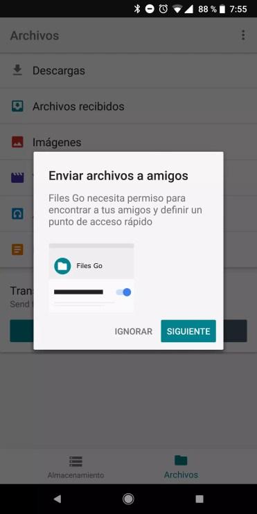 Transferir archivos con Files Go