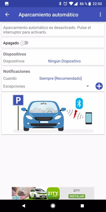 Uso de Bluetooth en ParKing para recordar siempre dónde has aparcado