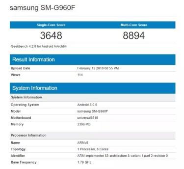 Samsung Galaxy S9 Geekbench con Exynos 9810