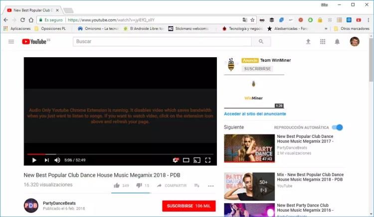 Audio Only Youtube para ahorrar batería en el portátil
