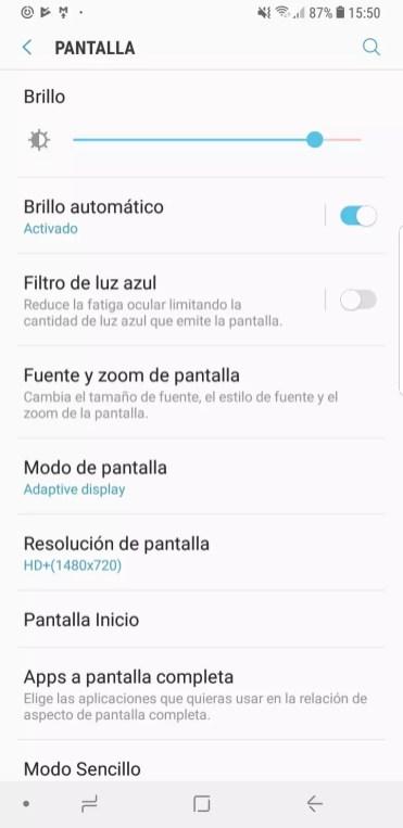 Opciones de la pantalla del Samsung Galaxy S9