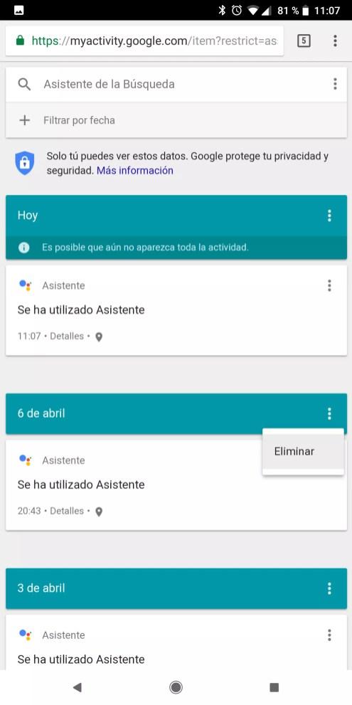Eliminar el historial en Google Assistant