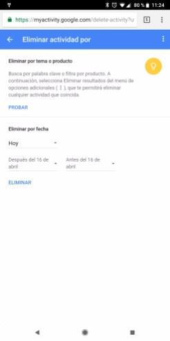 Selección para borrar el historial en Google Assistant