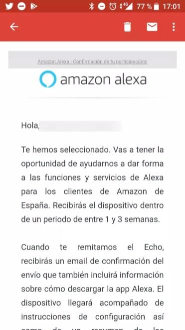 Información pruebas Alexa