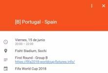Establecer aviso partido de calendario de Google del Mundial de Rusia 2018