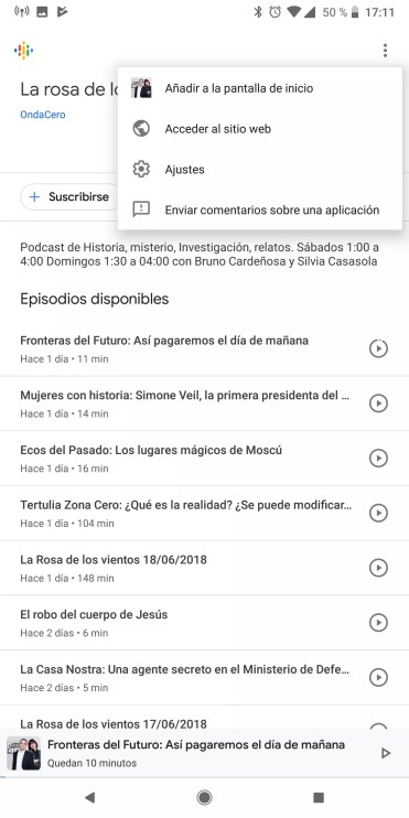 Opciones canales en Podcasts de Google
