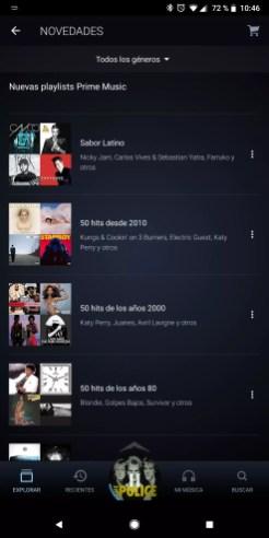 Lista reproducción Amazon Prime Music