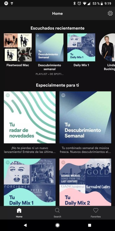 Interfaz de la aplicación Spotify Lite
