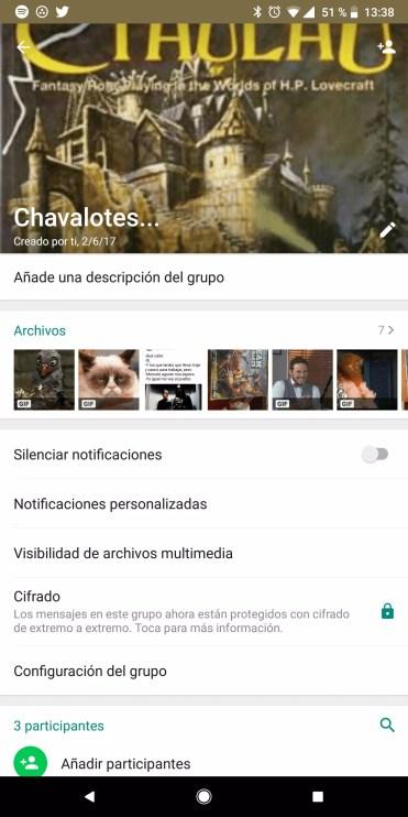 Opciones contacto en WhatsApp