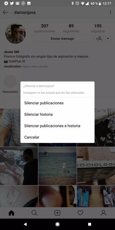 Silenciar contacto en Instagram