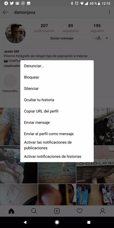 Silenciar Instagram opciones