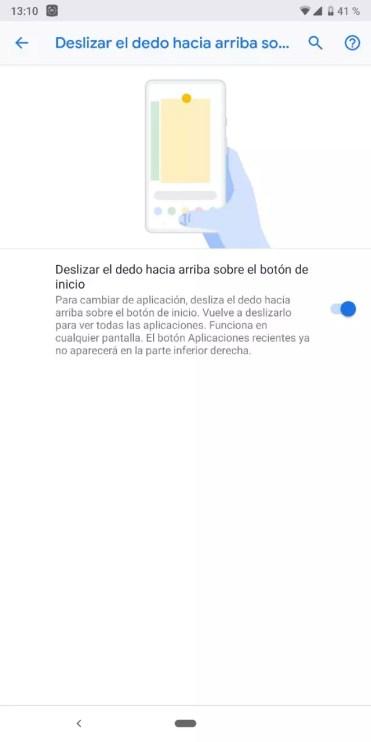 Gestos activados en Android Pie