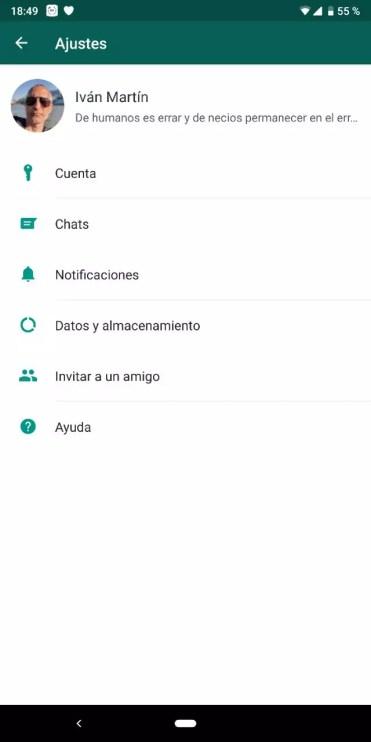 Ajustes de la aplicación WhatsApp