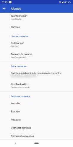 Ajustes para hacer una copia de seguridad de los contactos