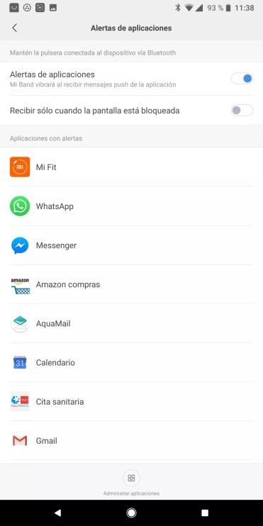 Alerta de aplicaciones en la Xiaomi Mi Band 3