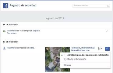 Eliminar registro actividad Facebook