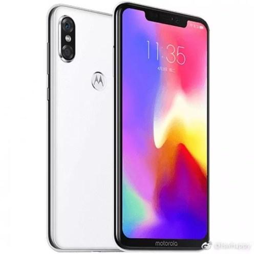 Teléfono Moto P30 de color blanco