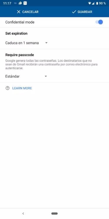 pantalla de Modo Confidencial en Gmail